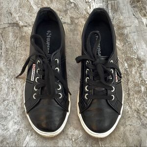 SUPERGA Black Faux Leather Classic Low Sneakers